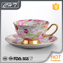 200ML High quality elegant porcelain coffee cup and saucer with flower design