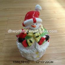 Ceramic snowman figurine for 2016 christmas promotion