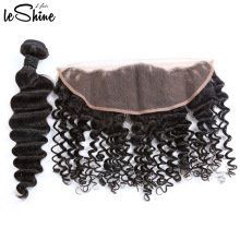 Charming Deep Wave Malaysian Virgin Ear To Ear Human Hair Swiss Lace Frontal High Quality