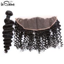 Não-processado completa cutícula 8A chinês Natural encaracolado profundo frontal fechamento extensões de cabelo humano preço das ações