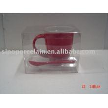 8oz top round carré fond rouge mug avec cuillère pour BS09019