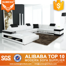 Atacado de alta qualidade branco preto italiano mobiliário de couro sofá conjuntos de sofá