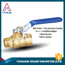 Brass color blue handle ball valve with rotate 90 degrees on YU HUAN OUJIA