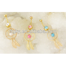 Gold Plated Dangle Dream Catcher Belly Piercing
