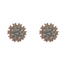 Pendientes de botón chapados en oro rosa