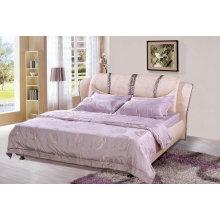 Rosa cama moderna, cama de Ciff, cama de cuero (9006)