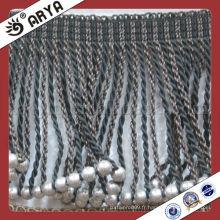 Frange de rideau, frange perlée frange gris