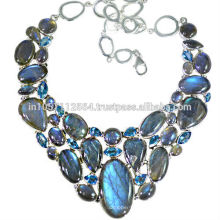 Flashy Labradorite & Swiss Blue Topaz With 925 Sterling Silver Designer Necklace