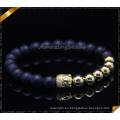 Pulseras de piedra plateadas oro de la ágata de las pulseras de Buda plateadas (CB0112)