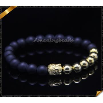 Gold überzogene Buddha Armbänder Matte Achat Stein Armbänder (CB0112)