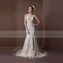 Enchanting Style V-Neck With Spaghetti Straps Backless Mermaid Wedding Dress With Exquisite Lace & Beads