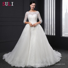 SL-004 Ball Gown Backless O-neck Lace 1/2 Sleeve Appliques Wedding Dress