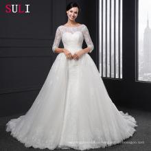 Сл-004 бальное платье спинки о-образным вырезом 1/2 рукава аппликации свадебное платье
