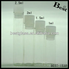 1ml / 1.5ml / 2ml / 2.5ml botella de vidrio redonda, botella de vidrio redonda vacía, botella de vidrio redonda con enchufe