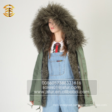 Fashion Real Lamb Fur Lined Women Parka Winter Jacket
