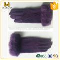 Premium Cheap Purple Unlined Wool Gloves with Rabbit Fur Cuff