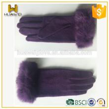 Premium barato luvas de lã azul sem revestimento com punho de pele de coelho
