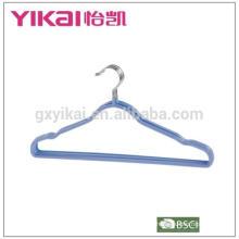 PVC cabide revestido com entalhes antiderrapantes e barra de calças em cores