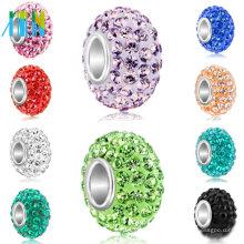 Gran agujero de arcilla de polímero cuentas de diamantes de imitación para la fabricación de joyas