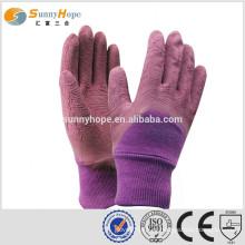 SUNNYHOPE luvas revestidas de palma de latex muito segurança Purple
