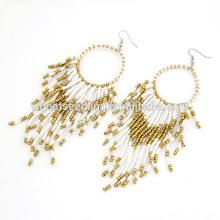 Boucles d'oreilles en perles blanches perlées belles boucles d'oreilles bon marché