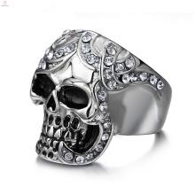 Punk Declaração de Jóias de Cristal Legal Aço Inoxidável Dedo Crânio Cabeça Anel