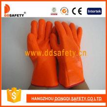 Luva de segurança resistente a produtos químicos luva de espuma de PVC laranja -Dpv313