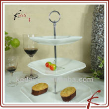 Ceramic Stoneware Square Wedding Three Layer Cake Plate