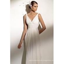 Imperio vaina columna correas con cuello en v capilla tren gasa vestido de novia drapeado con espalda en v