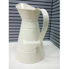 White Metal Flower Jugs with Handle