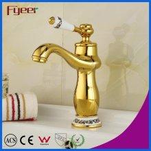 Fyeer Brass Body Golden Basin Mixer Taps with Ceramic Handle
