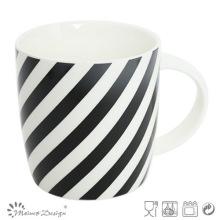 Black Strip Design Nueva Bone China Mug