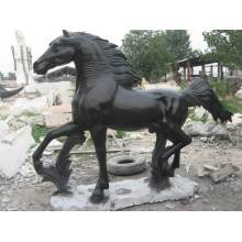 Life Size Black Marble Horse Statue