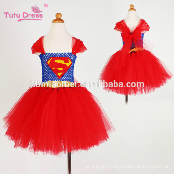 2017 новый дизайн супермен девочка туту платье красного цвета без рукавов принцесса туту платье дети производительность на Рождество
