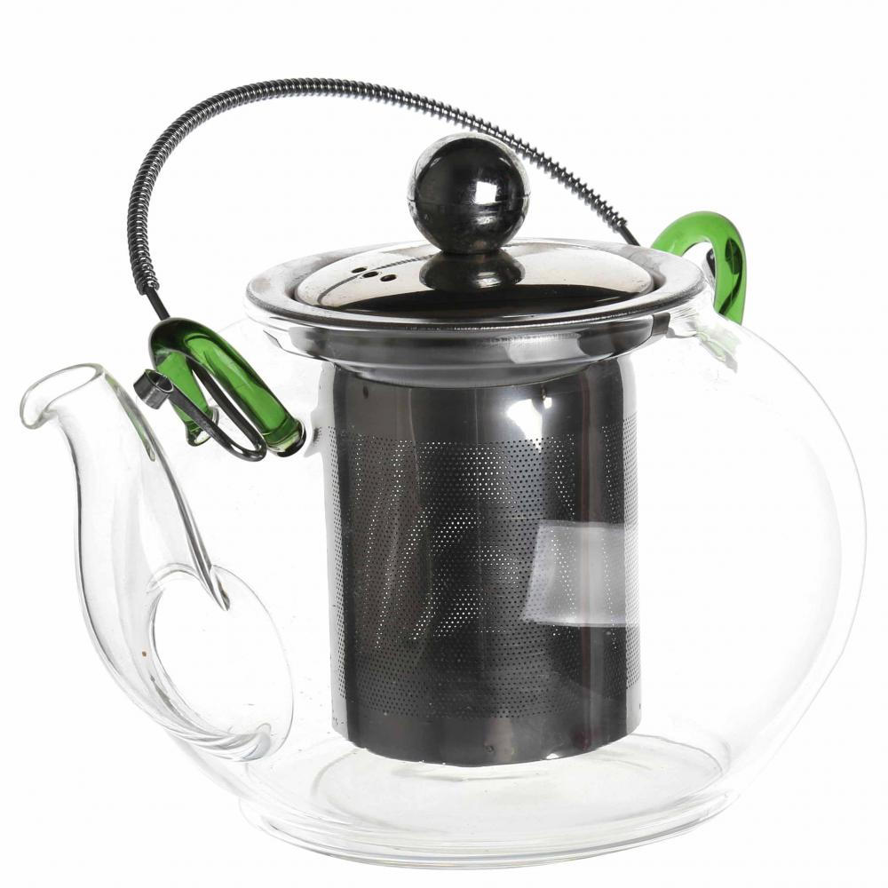 Heat Resistant Glass Teapot With Stainless Steel Infuser