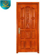 Pele de madeira da porta do MDF do folheado da grão de Okoume com painel diferente