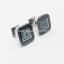 Новинка квадратной формы металлической эмали двухсторонней запонки для подарка