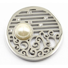 Silver Coin Plate with Pearl Fit 33mm Lockets