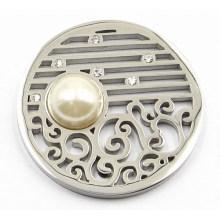 Prata placa de moeda com Pearl Fit 33mm Lockets