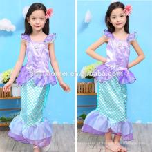 Novo design crianças cosplay vestido sereia crianças vestido menina princesa