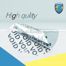 Logo personnalisé Adhésif pemanent totoal transfert déchiré étiquette de sécurité invalide avec CE pass