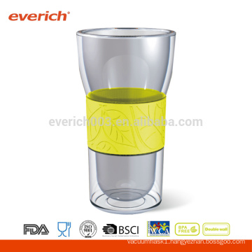 350ml Clear Glass Mug With Silicone Sleeve And Lid
