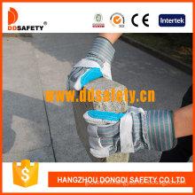 Reinforced Blue Leather Palm Stripe Cotton Back Rubberized Cuff Half Lining Ab Grade Safety Working Glove (DLC327) CE