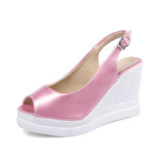cute pink latest design womens summer wedge sandals