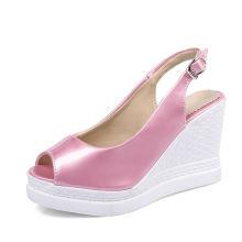 милый розовый новейший дизайн женские летние Клин сандалии