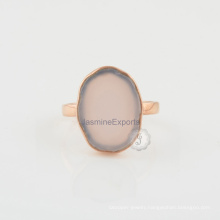 Pink Chalcedony Gemstone 925 Silver Fashion Engagement & Wedding Ring