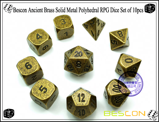 Bescon Ancient Brass Solid Metal Polyhedral RPG Dice Set of 10pcs-3