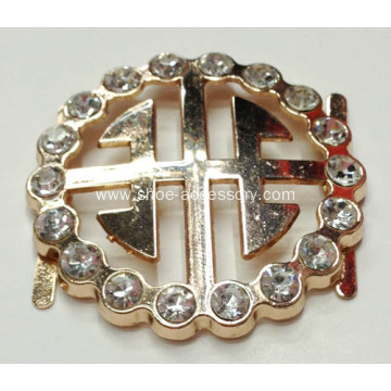 Round Effective Metal Shoe Buckle with Rhinestone