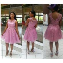Vente en gros de bonne qualité Elegant New O Neck Tulle Lace Short A Line Robes de demoiselle d'honneur LBS14