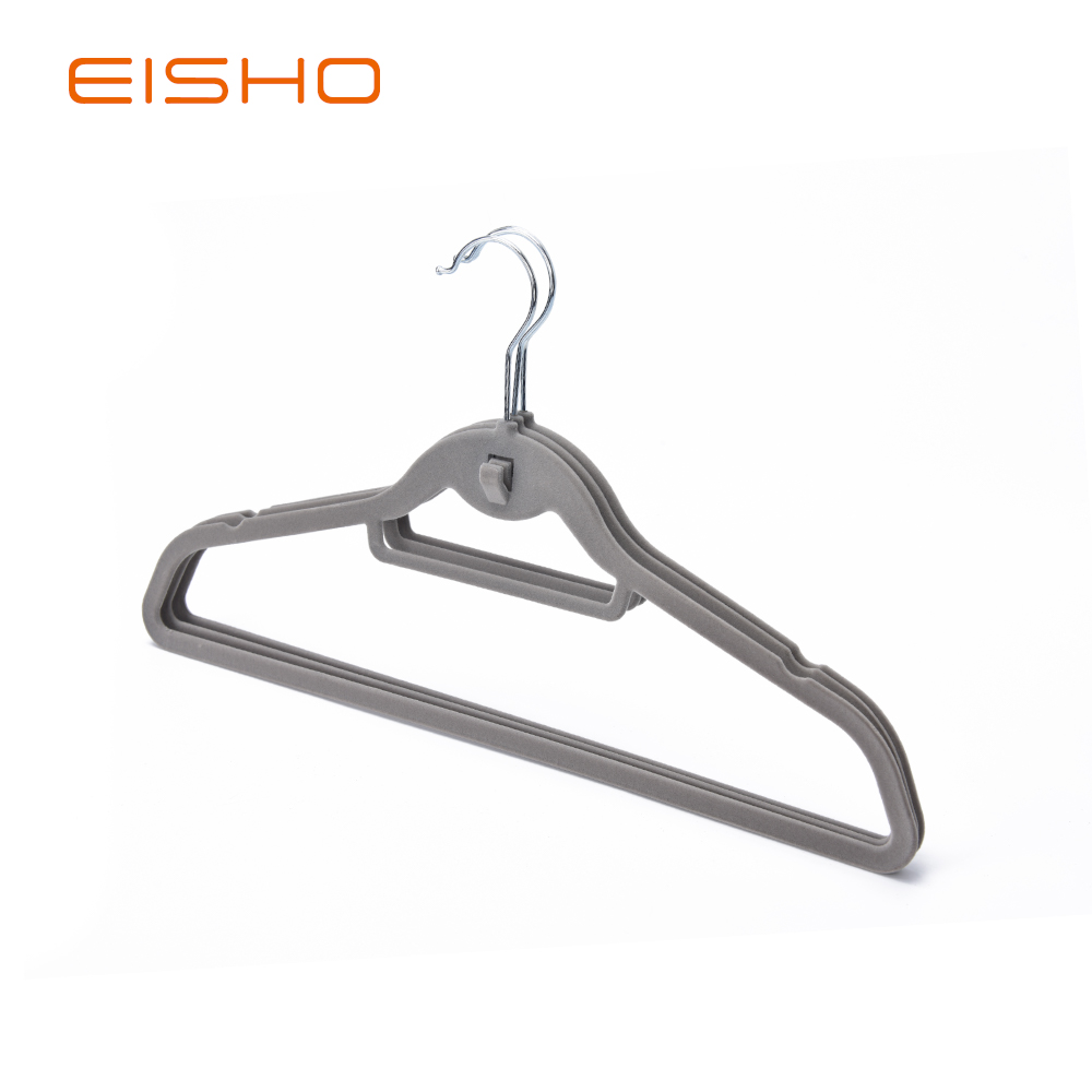 10 2 Grey Velvet Coat Hanger